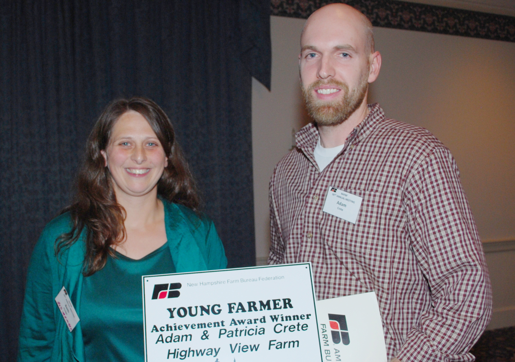 Achievement Award winner Adam Crete of Boscawen with Beth Hodge of Hinsdale.  Adam will represent New Hampshire at the American Farm Bureau annual meeting in San Diego this January.