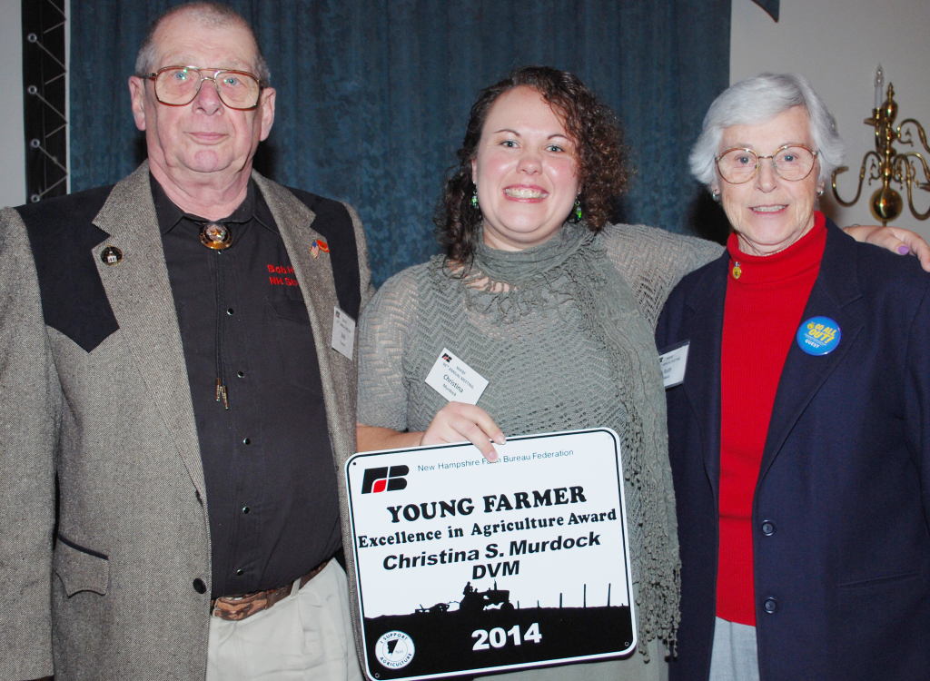 Excellence in Agriculture recipient Christina Murdock, DVM of Concord (center), with award judges Ruth Mann and State Representative Bob Haefner.